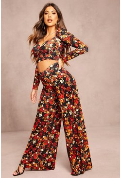 Recycled Floral Print Top & Trouser Co-ord, Black