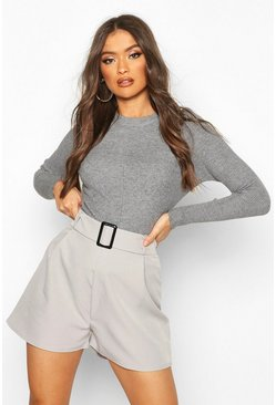 Womens Grey Belted Buckle Shorts