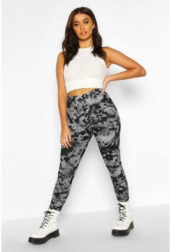 Black Tie Dye Rib Highwaist Leggings