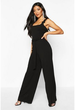 Womens Black Scallop Edge Strappy Wide Leg Jumpsuit