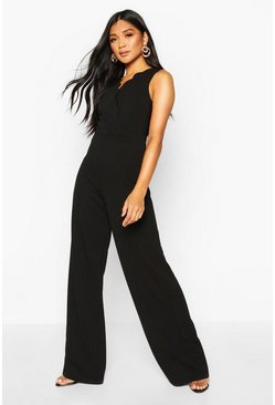 Womens Black Scallop Plunge Wide Leg Jumpsuit