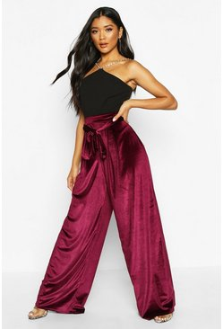 Womens Berry Tie Waist Wide Leg Velvet Trousers
