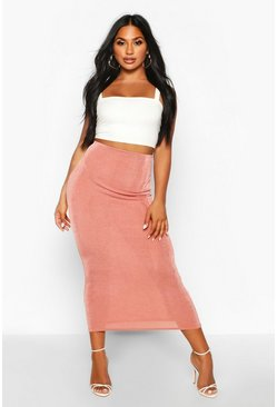 Womens Champagne Textured Midaxi Skirt