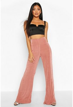 Champagne Wide Leg Textured Trousers