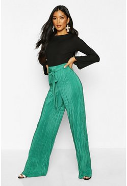 Womens Emerald Plisse Tie waist Wide Leg Trousers