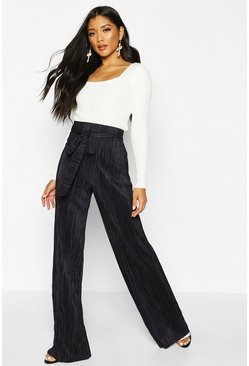 Womens Navy Plisse Tie waist Wide Leg Trousers