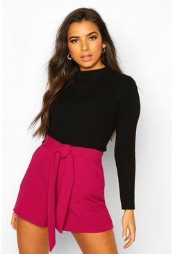 Womens Magenta Pocket Detail Tie Waist Tailored Short