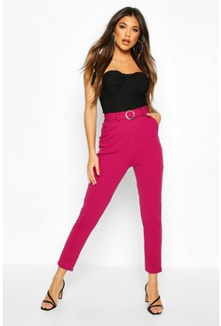 Womens Magenta Gold O Ring Belted Skiny Trousers