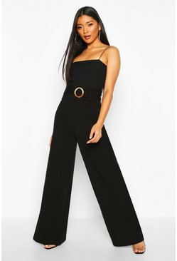 Black O Ring Wide Leg Tailored Trousers