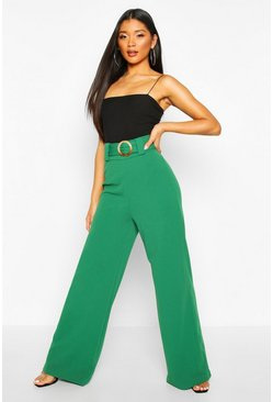 Emerald O Ring Wide Leg Tailored Trousers