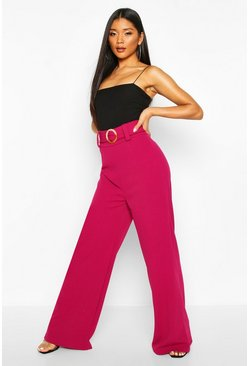 Magenta O Ring Wide Leg Tailored Trousers