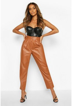 Tan Pin Tuck Tailored Leather Look Ankle Grazer