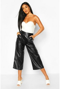 Womens Black Leather Look Tailored Cullottes