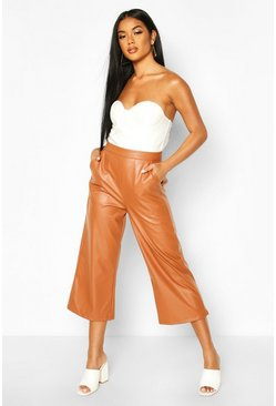 Womens Tan Leather Look Tailored Cullottes