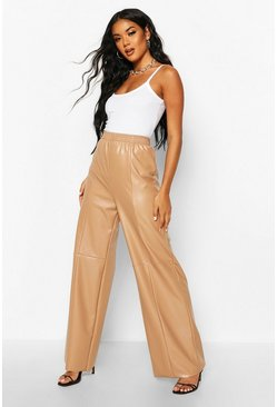 Taupe Wide Leg Seam Detail Leather Look Trousers