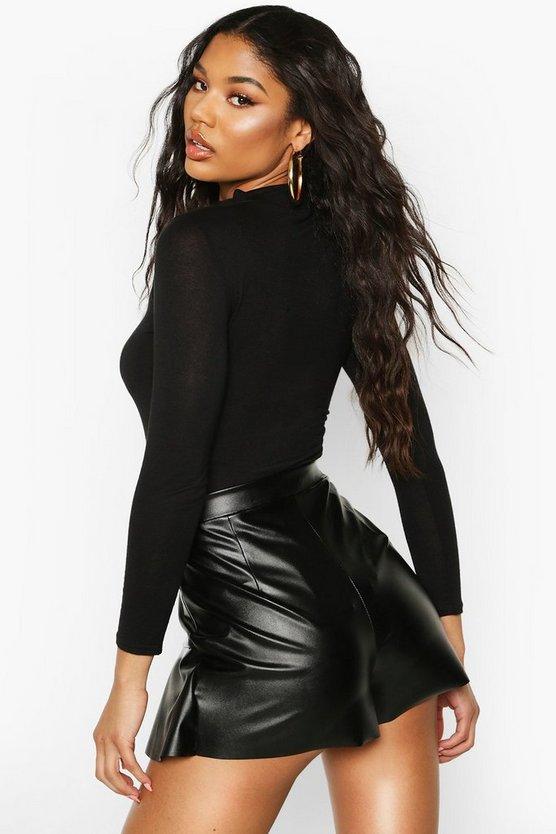 Leather Look Ruffle Hem Skort