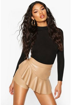 Womens Camel Leather Look Ruffle Hem Skort