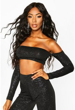 Black Glitter Off The Shoulder Long Sleeve Crop Top