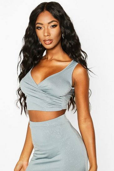 Womens Ice Glitter Wrap Sleeveless Crop Top
