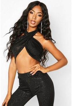 Womens Black Glitter Wrap Halterneck Crop Top