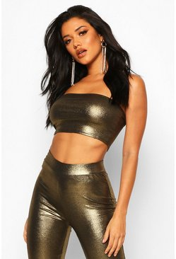 Womens Gold Metallic Bandeau Crop Top