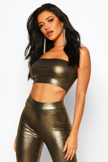 Gold Metallic Bandeau Crop Top