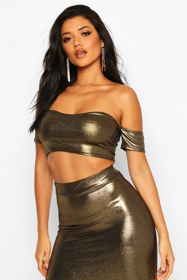 Gold Metallic Off Shoulder Crop Top