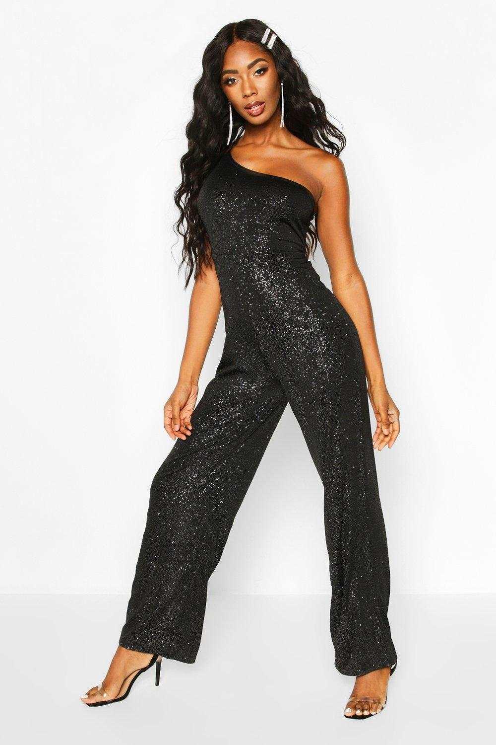 70s Jumpsuit | Disco Jumpsuits – Sequin, Striped, Gold, White, Black Womens Glitter One Shoulder Jumpsuit - black - 10 $42.00 AT vintagedancer.com