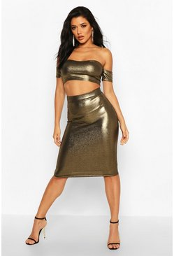 Womens Gold Metallic Bodycon Midi Skirt