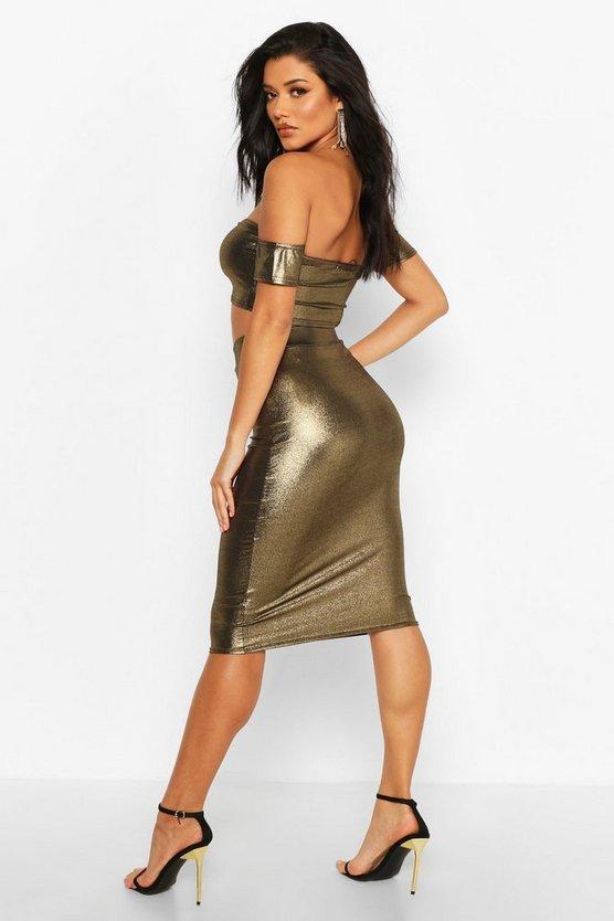 Metallic Bodycon Midi Skirt