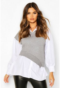 Grey Two In One Jumper Shirt