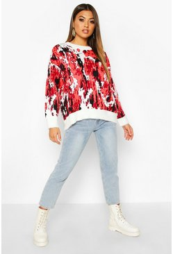 Womens Orange Oversized Fluffy Printed Jumper
