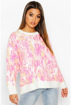 Pink Oversized Fluffy Printed Sweater