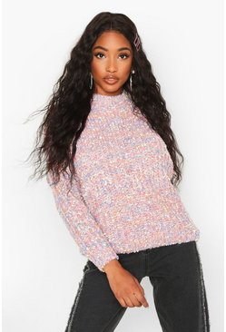 Pink Stripe Fluffy Neck Jumper