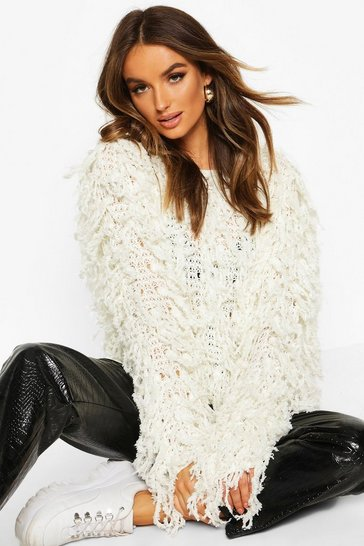 Womens Cream Fluffy Knit Fringed Jumper