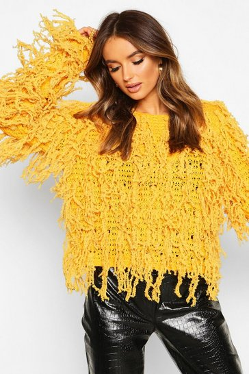 Womens Ginger Fluffy Knit Fringed Jumper