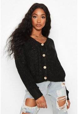 Black Cable Knit Fisherman Cardigan