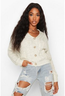 Womens Cream Cable Knit Fisherman Cardigan
