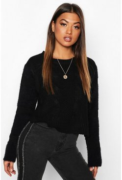 Black Fluffy Sleeve Cable Knit Jumper