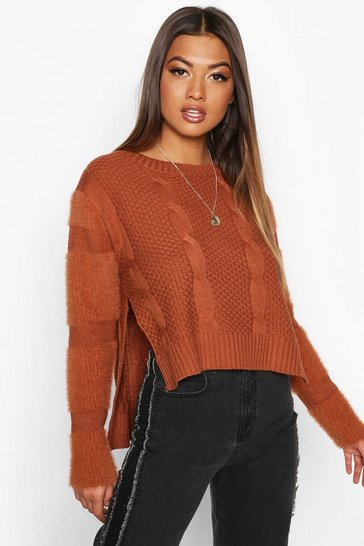 Womens Brown Fluffy Sleeve Cable Knit Jumper