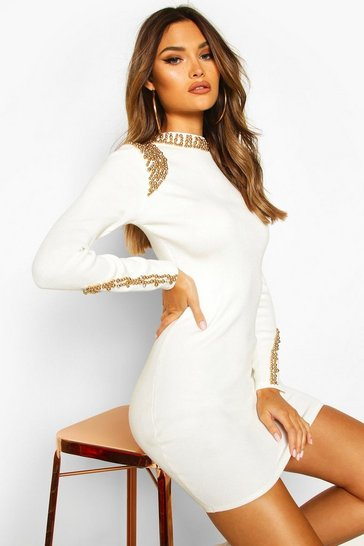 Womens Cream Gold Embellished Shoulder Jumper