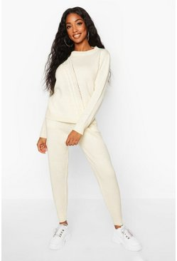Womens Beige Cable Knit Lounge Set