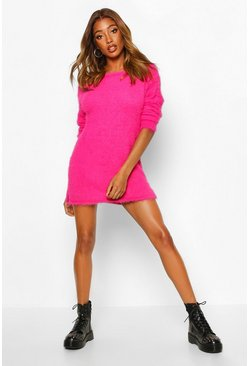 Fuchsia Fluffy Slouch Knitted Jumper Dress