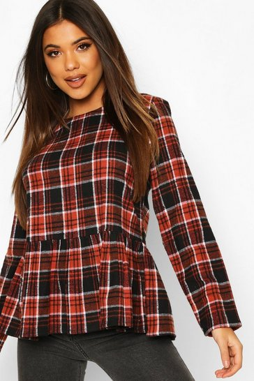 Rust Check Long Sleeved Smock Top