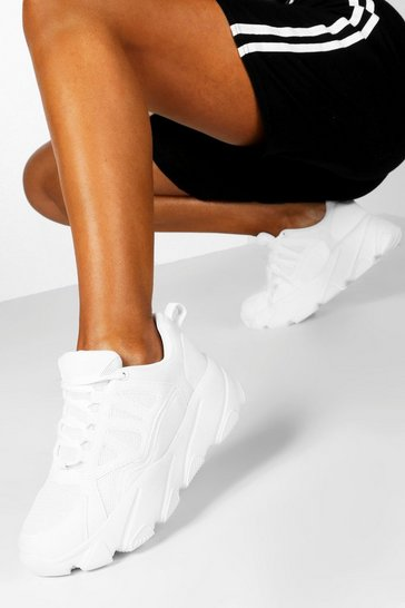 Womens White Chunky Sole Trainers