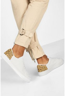 White Leopard Panel Basic Flat Sneakers