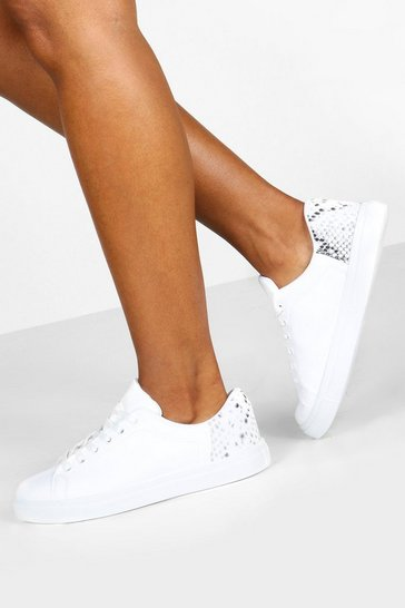 Womens White Snake Panel Basic Flat Trainers