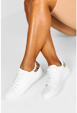 Womens White Leopard Panel Lace Up Flat Trainers