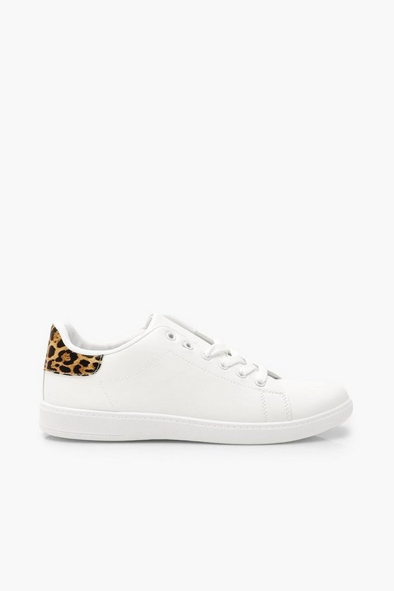 Leopard Panel Lace Up Flat Trainers