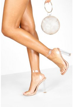 Womens Rose gold Clear 2 Part Heel Sandals